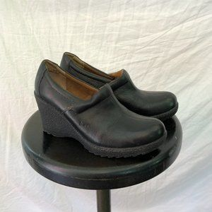 Black Chunky Leather Wedge Clogs